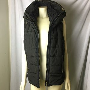 Olive Green Puffy Zip Up Vest
